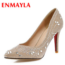 ENMAYER Gold silver fashion  women pumps pointed toe thin high heels party shoes Gold silver Spring Platform pumps size34-39 bigtree new wedding shoes high heels gold silver women pumps 2018 special sequins stable thick heel pointed toe female size34 39