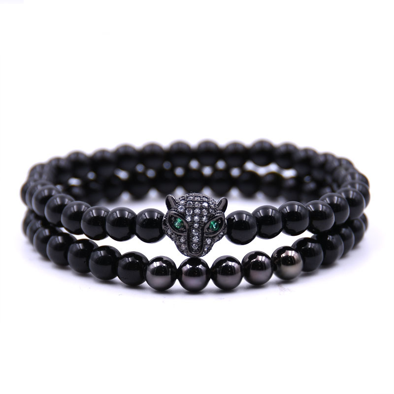 6mm Leopard Bracelet Set Charms Bracelet Men Jewelry Stone Braslet Bracelets Bangles Pulseira Masculina For Women Hademade New