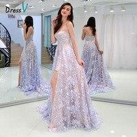 Dressv Strapless Lace Evening Dress Sleeveless Sweep Train Pleat High Split Front Prom Party Dress Elegant Formal Evening Dress