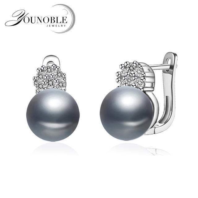 Beautiful 925 silver earrings pearl female,summer trendy bridal real natural white grey black freshwater pearl earrings women