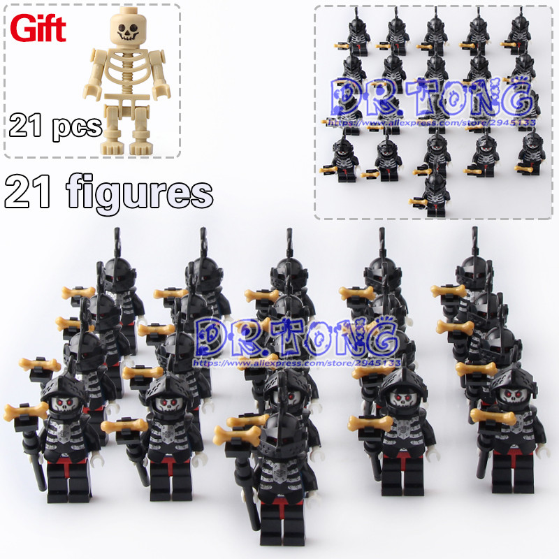 DR TONG 21PCS/LOT AX9815 Skeleton Knights Medieval Castle Knights Skeleton Knights Building Bricks Blocks Toys Children Gifts 1 leader 16pcs lot medieval knights xh645 crusader rome commander super hero building blocks toys children gifts x0164