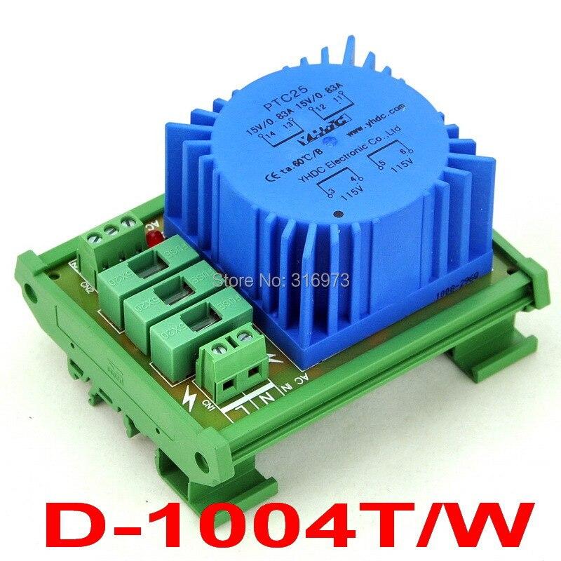 P 230VAC, S 2x 15VAC, 25VA DIN Rail Mount Toroidal Power Transformer Module.