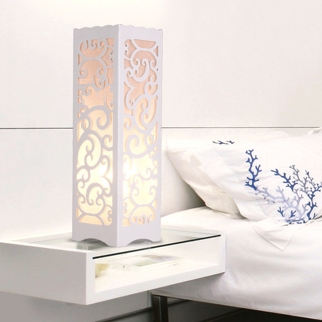 White Table Lamp with Vine Shaped Cutout Soft Glow Style  E27 bulb base