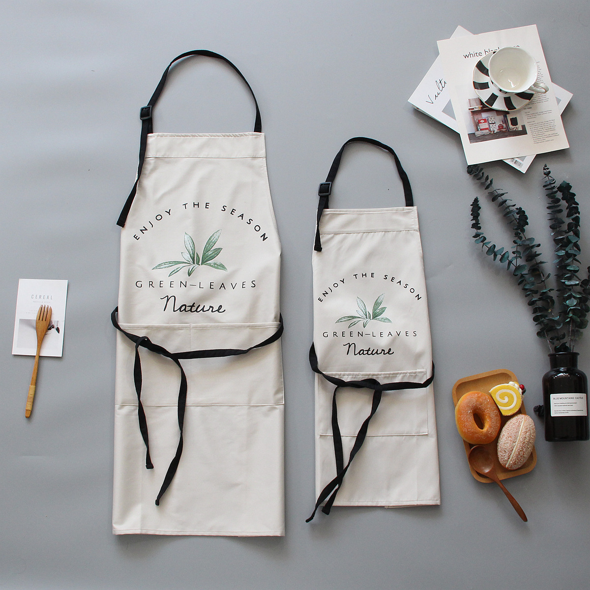 Image 5 - 1 Ps Chic Plants Pattern Unisex Cooking Dining Kitchen BBQ Restaurant Cleaning Waterproof Waitress Housework Aprons Dropshipping-in Aprons from Home & Garden