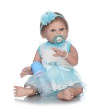 22″Full Silicone Bebe Reborn Baby Girl Doll Lifelike Newborn Girls Babies Alive Doll for Child Bath Shower Bedtime Toy Doll Gift