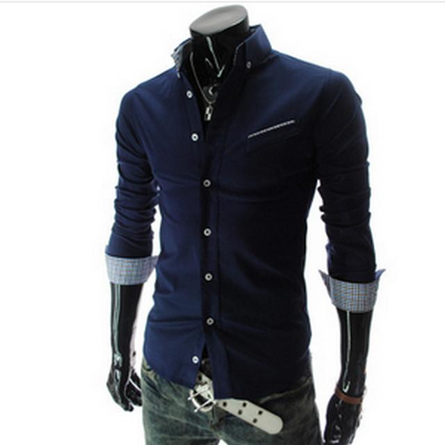 2015 primavera y otoño ocasional de manga larga camisetas turn down collar slim fit moda hombre M-XXL
