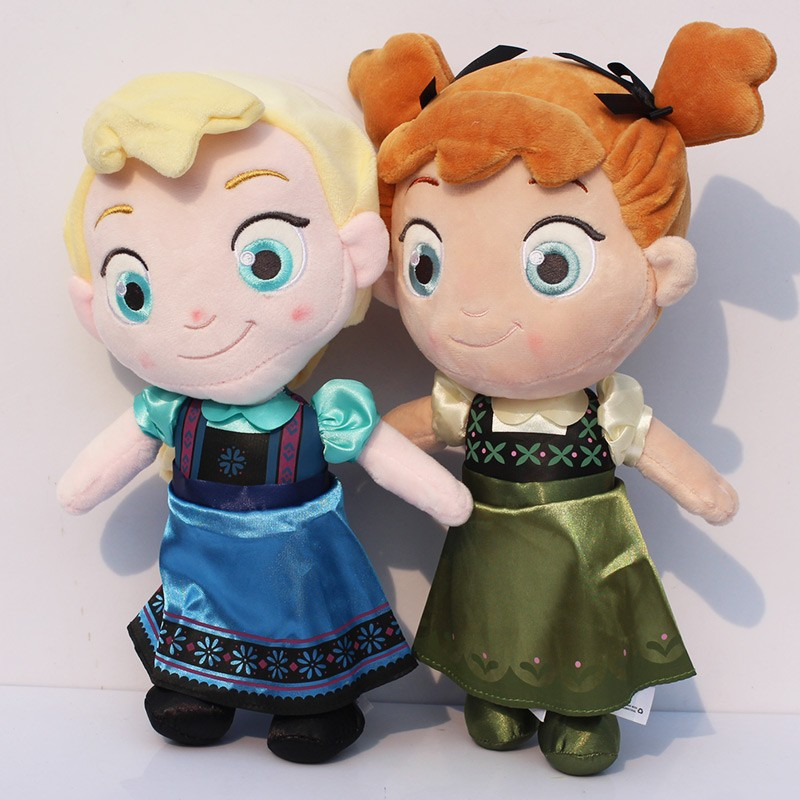 2pcs/lot 30cm Childhood Princess Elsa Anna Plush Toys Doll Toddler Elsa Anna Plush Stuffed Toys Dolls Brinquedos Gifts for Girls