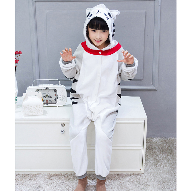 Ensnovo Girls Pajamas Kigurumi Halloween Children Cheese Cat Anime Pyjama  Nightcloth Animal One Piece Hooded Christmas Sleepwear 316fe1c579062