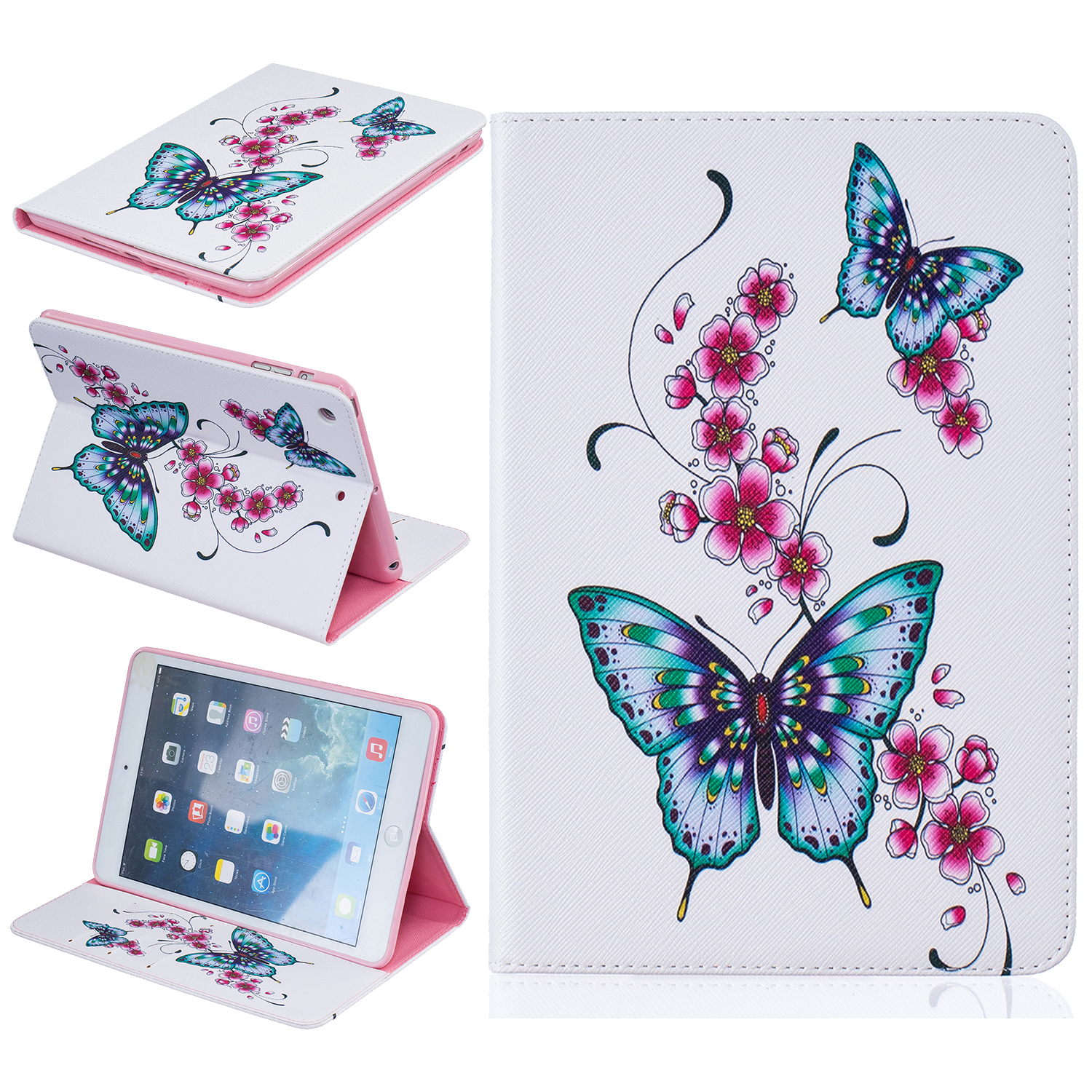 Butterfly Print PU Leather Case Cover For Apple iPad Air 3 2 1 Stand Cases For iPad 7 6 5 4 3 2 ipad mini 4 3 2 Tablet