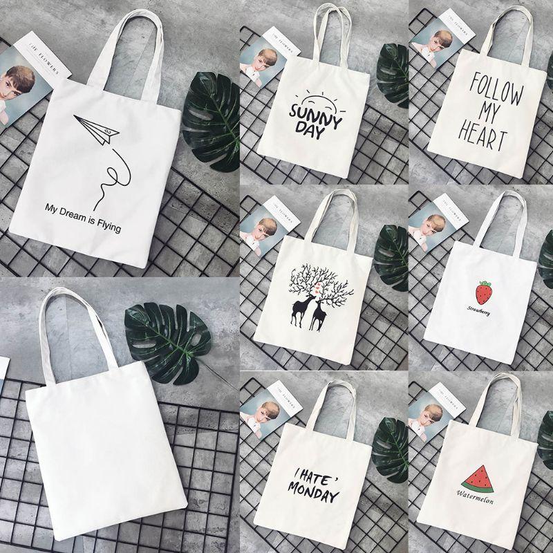 THINKTHENDO Cute Print Canvas Tote Women Shopper Shopping Shoulder Bags Reusable Foldable Fashion Handbags 12 Pattern