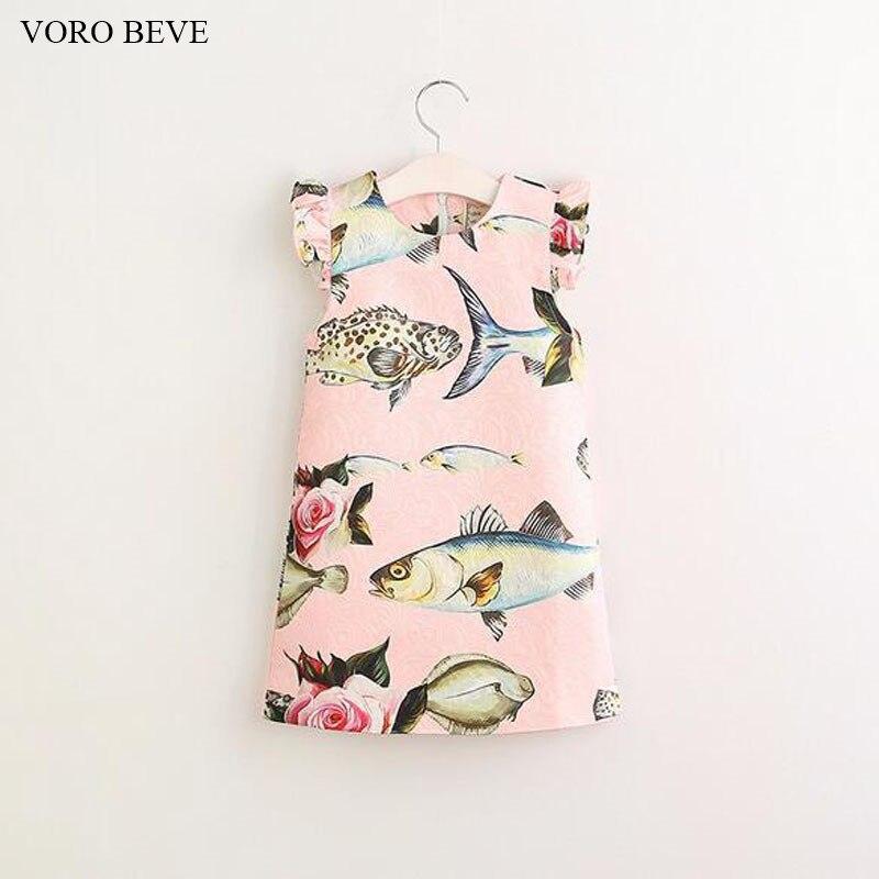 VORO BEVE 2017 New Fashion Girl princess dress children clothing fish printed dress for kids vestidos
