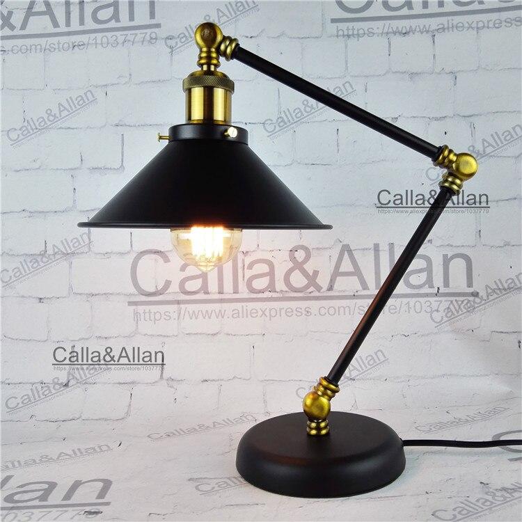 Бесплатная доставка с Edison лампы AC110V/220 В 60 Вт железная настольная освещения с выключателем и вилка ul/ CE рядом лампы для отеля Декор