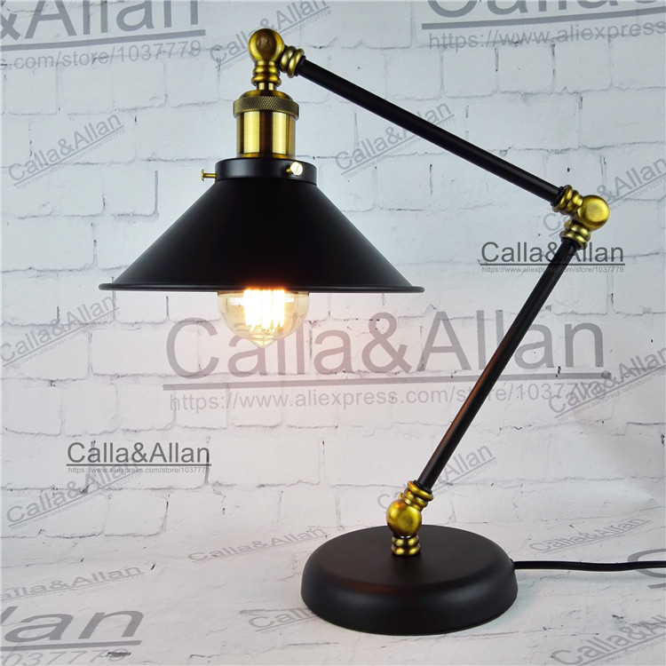 Free shipping with Edison bulb AC110V/220V 60W black iron table lighting with switch and plug UL/CE beside lamp for hotel decor free shipping to russia 10 arms iron socket lighting diy industrial black chandelier with edison bulb 220v or 110v decoration