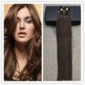 Brillo completo Dibujado Doble 1 g/s U Nail Tip Brasileño Humano Extensiones de cabello de Color 4 Marrón Medio Remy Recta Del Pelo Humano extensiones