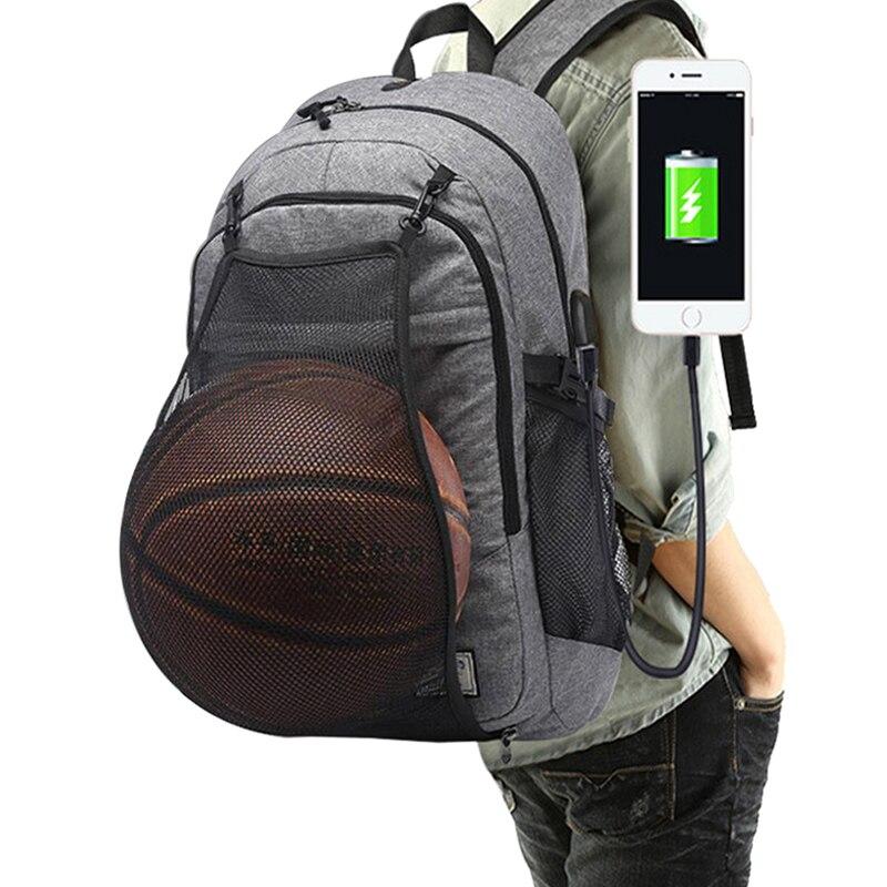 Heißen männer Sport Gym Taschen Basketball Rucksack Schule Taschen Für Teenager Jungen Fußball Ball Pack Laptop Tasche Fußball Net fitness Tasche