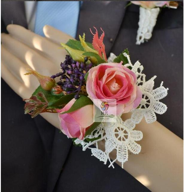 New Style 5pcslot Diy Handmade Pink Retro Rose Lily Wrist Flower