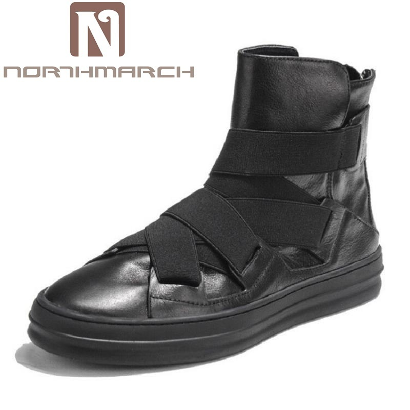 NORTHMARCH Brand Ankle Snow Boots Men Shoes Genuine Leather Winter Fashion Cow Motocycle Casual Boot Male High-Top Flat Botas new fashion men luxury brand casual shoes men non slip breathable genuine leather casual shoes ankle boots zapatos hombre 3s88