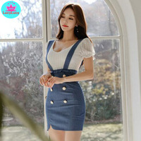 2019 summer Korean version of the temperament round neck short sleeved lace shirt wooden ear denim bag hip skirt 2 sets