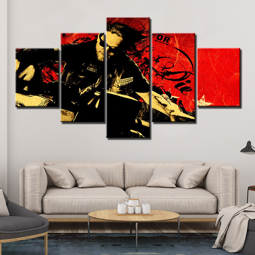 Hd Prints 5 Panels Canvas Prints Painting Sons Of Anarchy Wall Art Picture For Living Room Wall Decor Home Decoration
