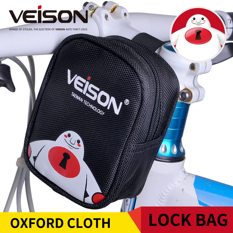 Veison Black-White Bag For Disc Alarm Lock Oxford Cloth Small Lock Bag Hanging On Motorcycle/Bike/Bicycle Multifunctional Bag