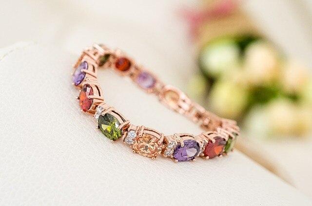 Роскошный женский браслет emmaya из розового золота с разноцветными