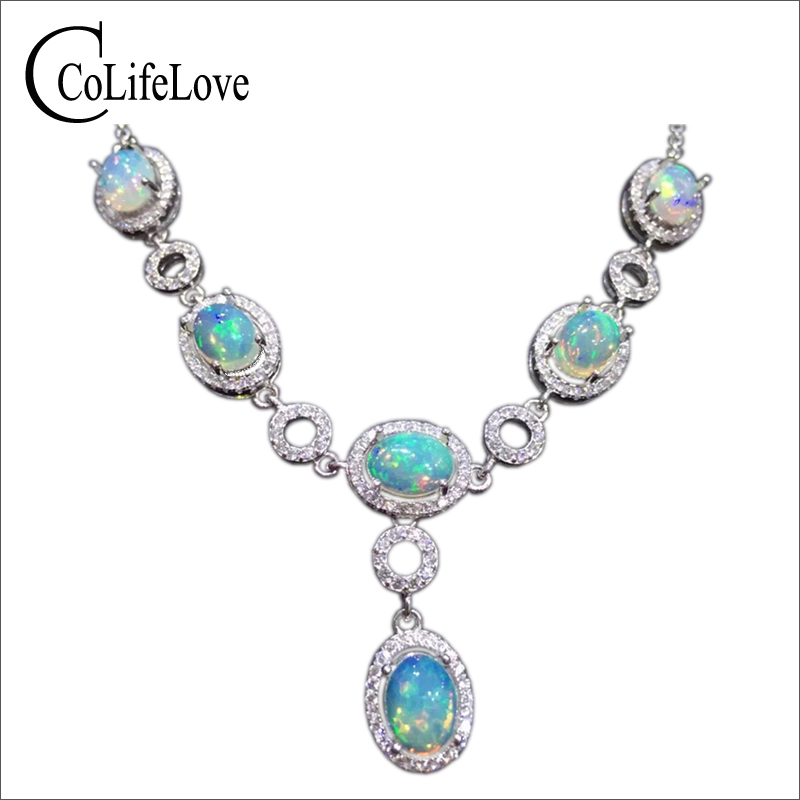 Super luxurious opal necklace pendant natural Australia firework opal platinum plated 925 solid silver necklace gift