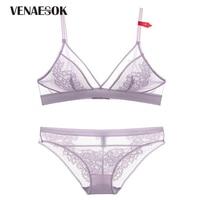 Seamless Brassiere Ultrathin See Through Bra Panties Sets Sexy Lingerie Set Purple Lace Transparent Underwear Set Women Bra