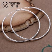 Fashion trendy simple round silver hoop earrings for women jewelry circle earring scrud & smooth earrings 5CM diameter(China)