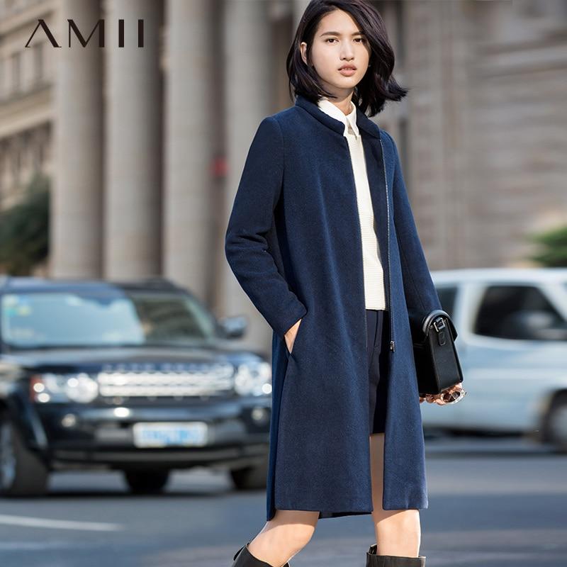 Amii Casual Women Woolen Coat 2017 Winter Zipper Mandarin Collar Solid Female Wool Blends