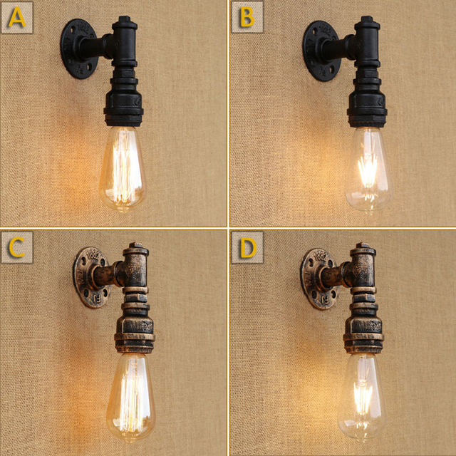 Industrial Style Wall Lamp Water Pipe Loft Black Pipes Kitchen ...