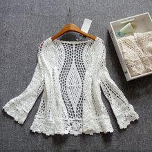 Shuchan Hollow Out Beach Open Stitch Cardigan Summer Beach Boho Knit Embroidery Blouse Sleeveless Vest 3/4 Sleeve cotton tops(China)