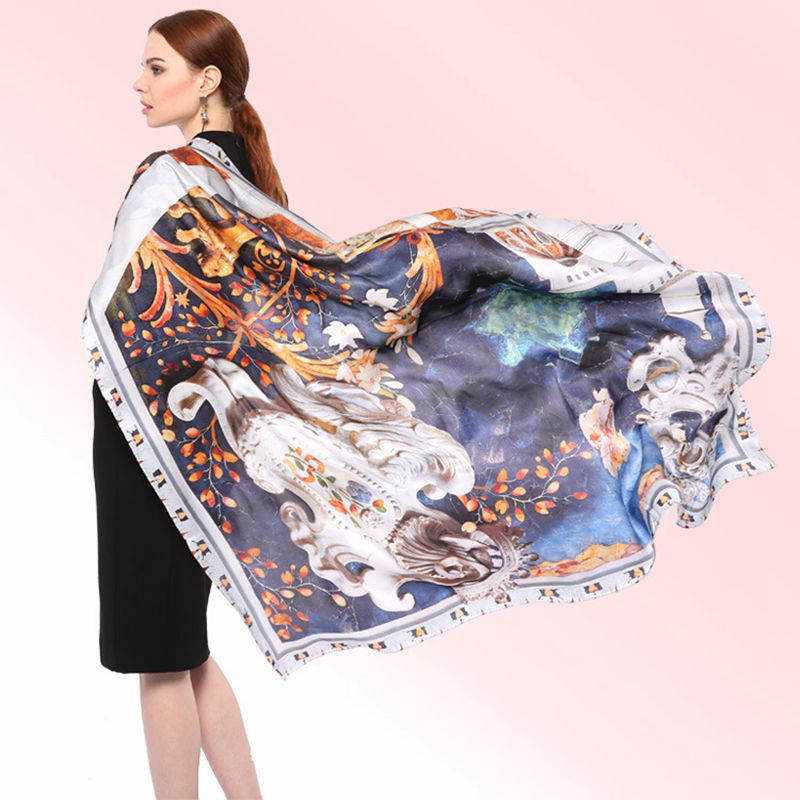 Top Grade Luxury Castle Printed Large Square Silk Scarf Women Shawl Cape Bandana Hijab 100% Satin Silk Scarves & Wraps 135x135cm rope print satin bandana