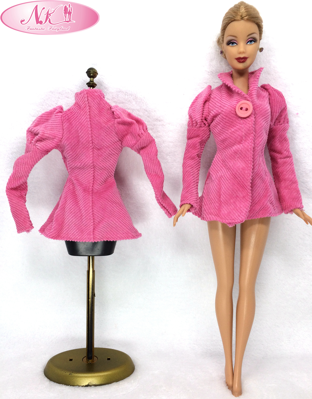 NK One Set Unique Doll Garments Trend Coat Winter Put on Clothes Pink Outfit For Barbie Doll Finest Reward For Woman' Doll Snowsuit