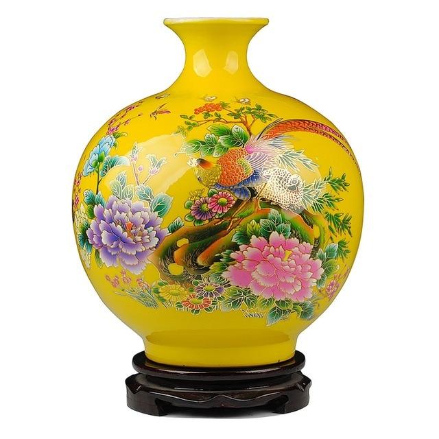 Jingdezhen Golden Pheasant Porcelain Pomegranate Vase Antique
