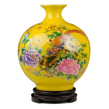 Jingdezhen Golden Pheasant Porcelain Pomegranate Vase Antique Decorated Ceramic Vase