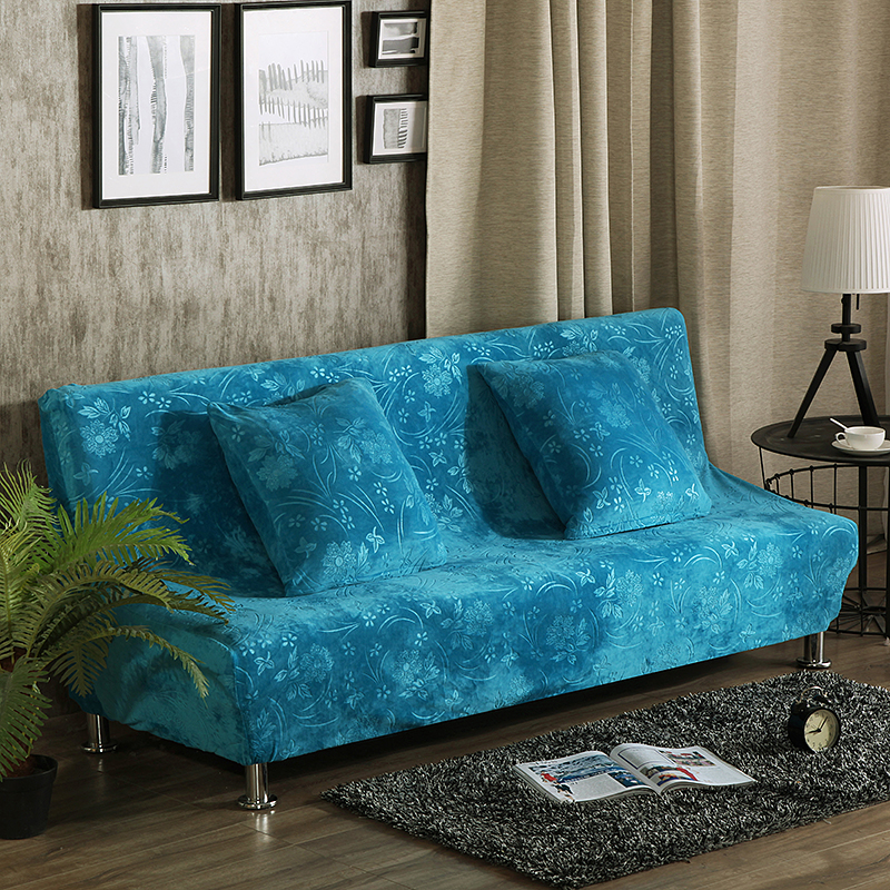 Blue Embossing Stretch Sofa Bed Cover For Living Room Universal Elasic Armless Couch Covers Anti
