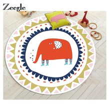 Zeegle Cartoon Animal Printed Round Carpet For Living Room Mats Children Kids Bedroom Rug Welcome Door Anti-Slip Area Mat(China)