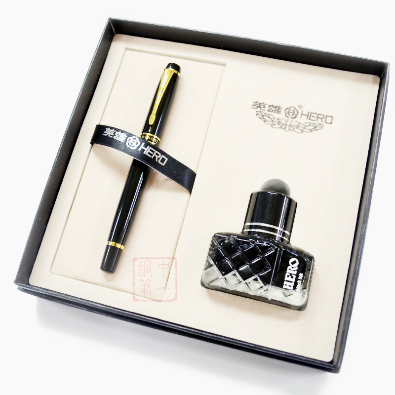 Classic Series Black Hero 1501 Fountain Pen High End Ink Pens Set with Gift Box Free Shipping hero 573 black silver square grid senior iridium fountain pen fountain pen classic free shipping