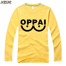 Hot-sale Japanese Anime One Punch Man Oppai T Shirts for Men and Women Long Sleeve Funny Cartoon Cotton T-shirts Plus Size S-3XL