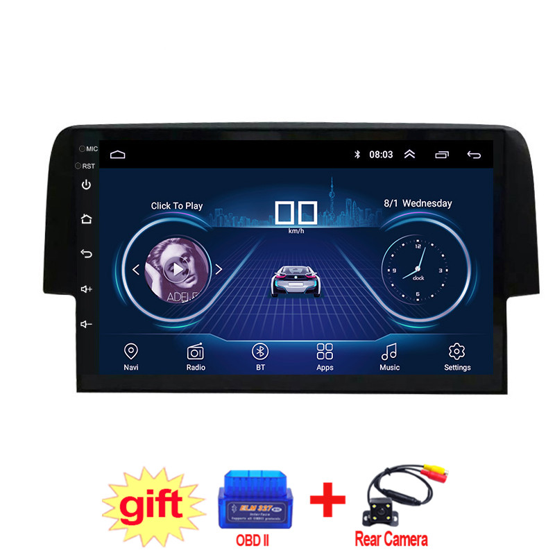 9inch IPS and 2.5D Touch Screen Android 8.1 Car DVD GPS Navigation for Honda civic 2016 2017 2018 Radio Audio Stereo