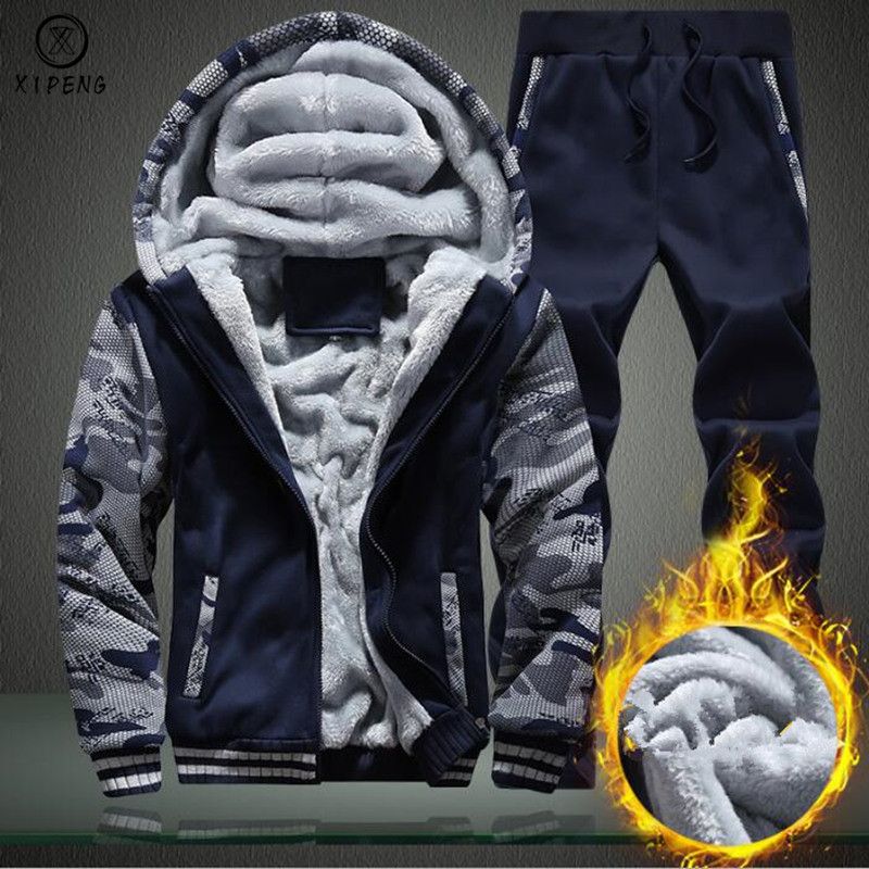 Sporting Camouflage Tracksuit Men 2019 New Winter Thicken Hoodies Hooded Coats Fleece Pants Sportswear Men's Set Warm Suit Man