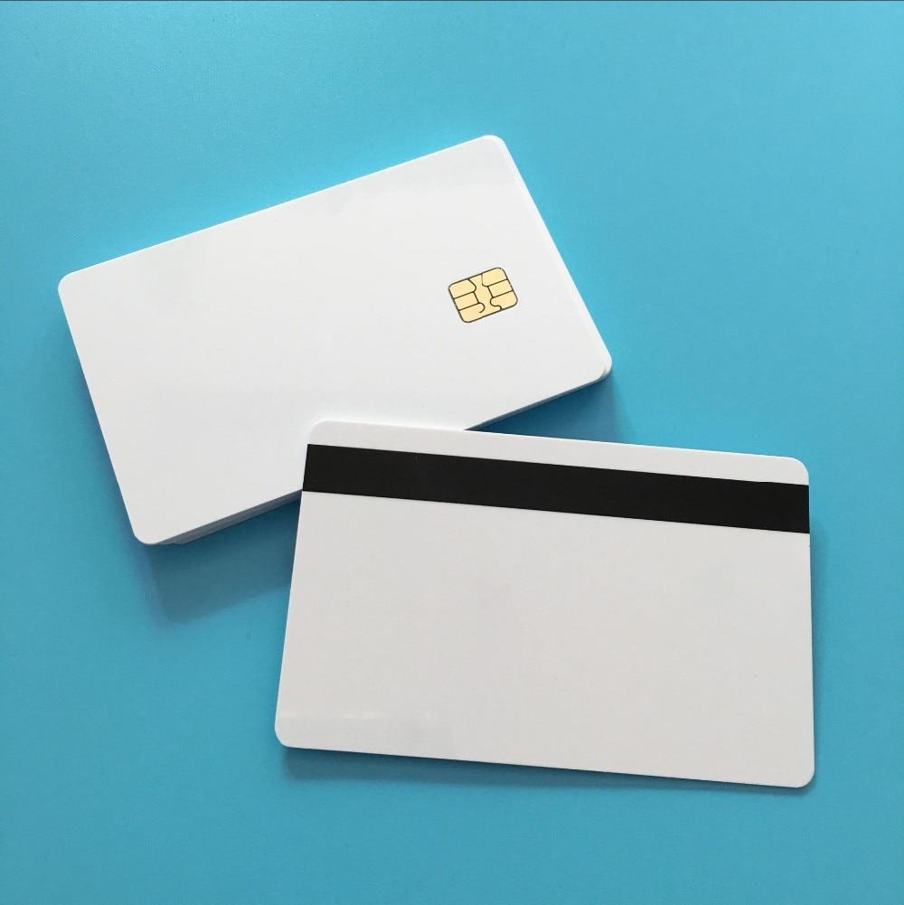 SLE4442 Hi Co MagStripe White Contact Smart Small Chip Printable PVC Card 20PCS