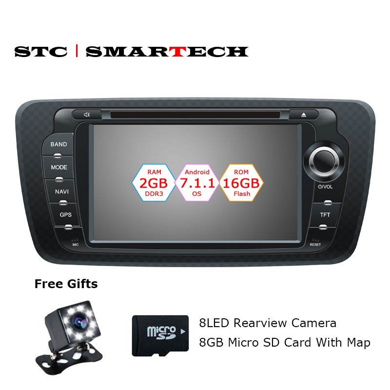 SMARTECH 2 Din Android 7.1.2 Car Radio DVD Player GPS Navigation for seat ibiza Quad Core 2GB RAM 16GB ROM with CAN-BUS Decoder