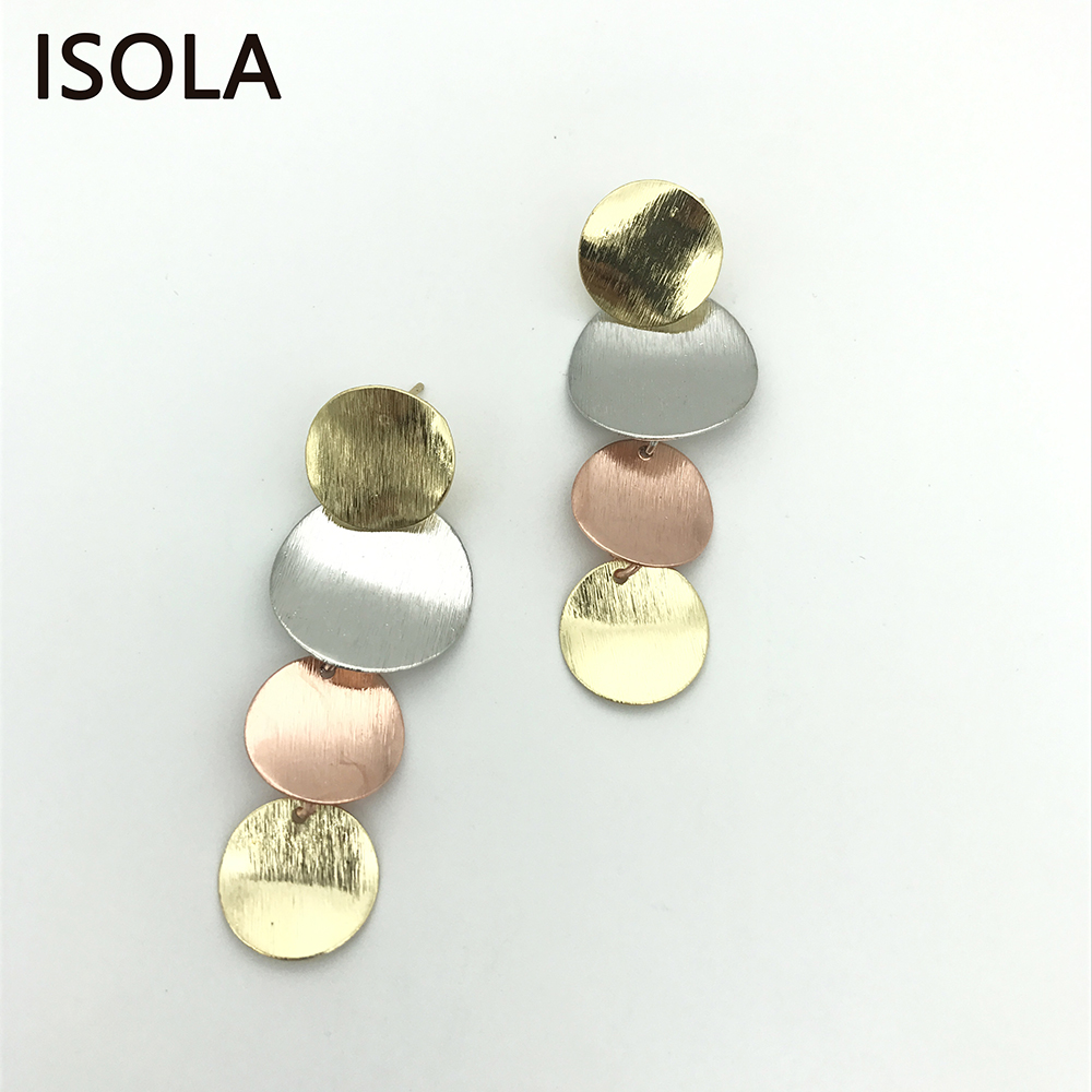 ISOLA Brushed Minimalist Tiered Earrings Round Multilayered Drop Earring Charming Large Simple Stacked Earring