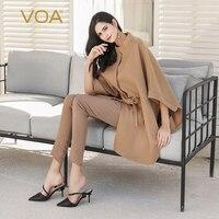 VOA Baby Cashmere Camel Coat Women Poncho Cape Winter Cloak Ladies Vintage Belt Overcoat Loose Black Batwing Warm Clothes S325