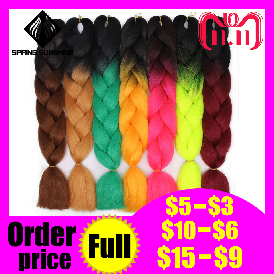 Spring Sunshine 1 5pcs 24inch Jumbo Braid Hair Kanekalon Hair Ombre Crochet Braiding Synthetic Hair Extension For Braids Pink Jumbo Braids