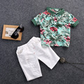 Toddler Baby Boy Clothes Flower Polo Shirt Tops+ Demin Shorts Jeans Clothes Sets 2016 New Fashion Kids Boy Clothing 1-6T
