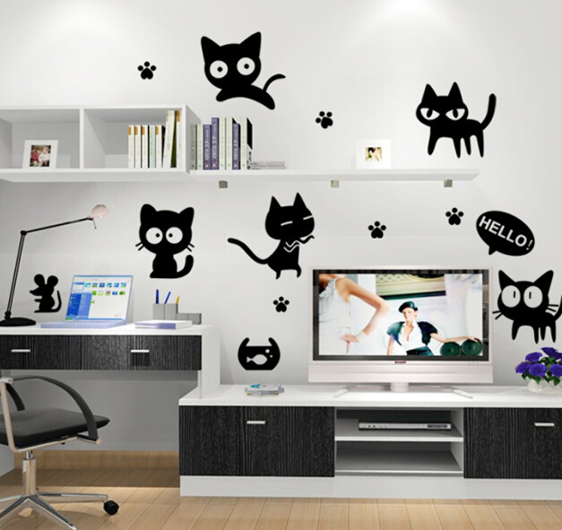 Cartoon zwarte kat schattige diy vinyl muurstickers voor kinderen kamers home decor art decals 3d behang decoratie adesivo de parede