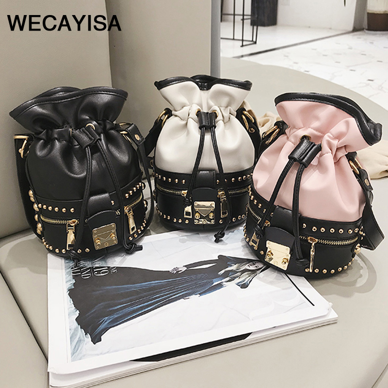WECAYISA Retro Splicing Rivet Bucket Bucket Bag Shoulder Messenger Bag New Tide Wild Fashion black pink white 3color