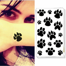 M-theory Black Puppy Footprints Temporary Tattoo Body Art Arm Flash Tattoo Sticker, 17x10cm Fake Tattoo Sticker